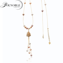 55cm Real Natural Long Pearl Necklace Women,Beautiful Freshwater Pendant Anniversary Gift