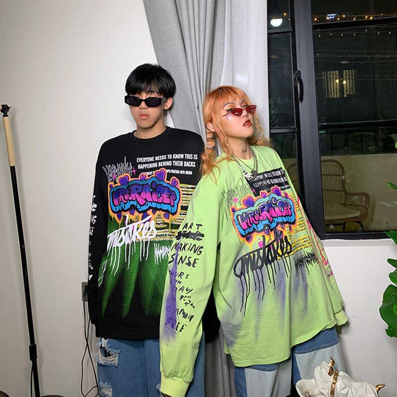 NiceMix 2020 moda kore Streetwear bayanlar sonbahar Punk Tees Tops kadınlar baskılı uzun kollu T shirt rahat Hip Hop giyim