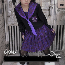 Jk-Uniform Pleated-Skirt Sailor-Suit Goth Purple Dark Punk Cosplay Girl Vintage Cute