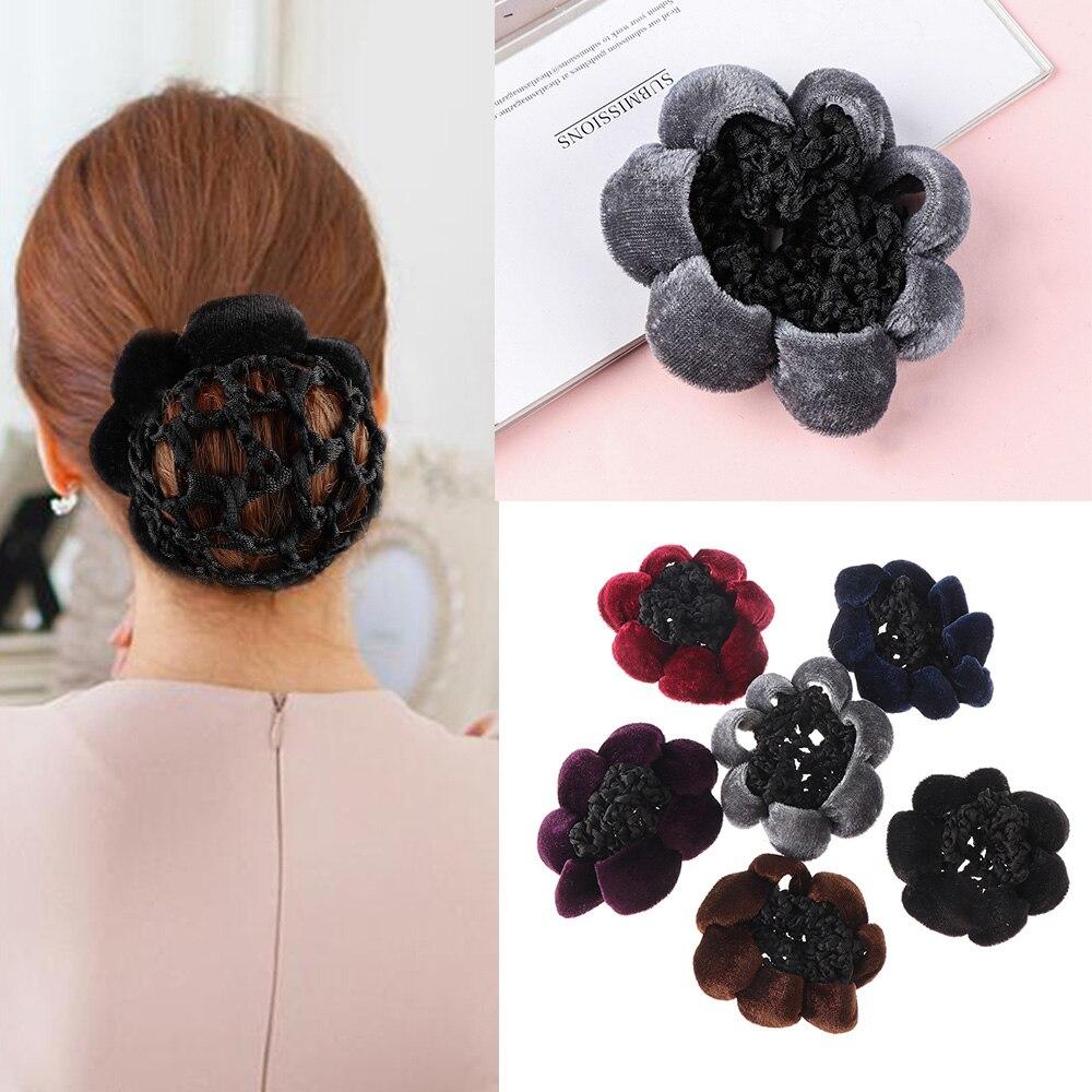 1PC Lace Rose Flower Bun Cover Hair Net Elastic Dancers Women Girls Ballet Skate