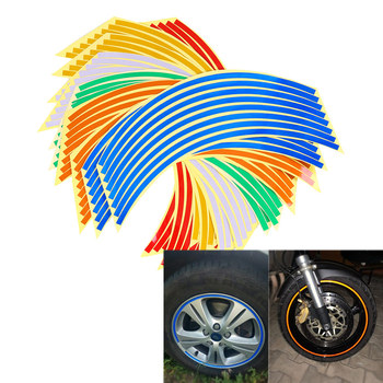 16PCS Reflective Strips Motocross Bike Wheel Rim Stripe Stickers Reflective Rim Tape Car Styling Decoration Stickers image