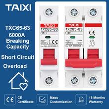 AC110V 220V 400V Miniature Circuit Breaker TXC65 MCB 10A 16A 20A 25A 32A 40A 50A 63A MCB Short Circuit and Overload Protection