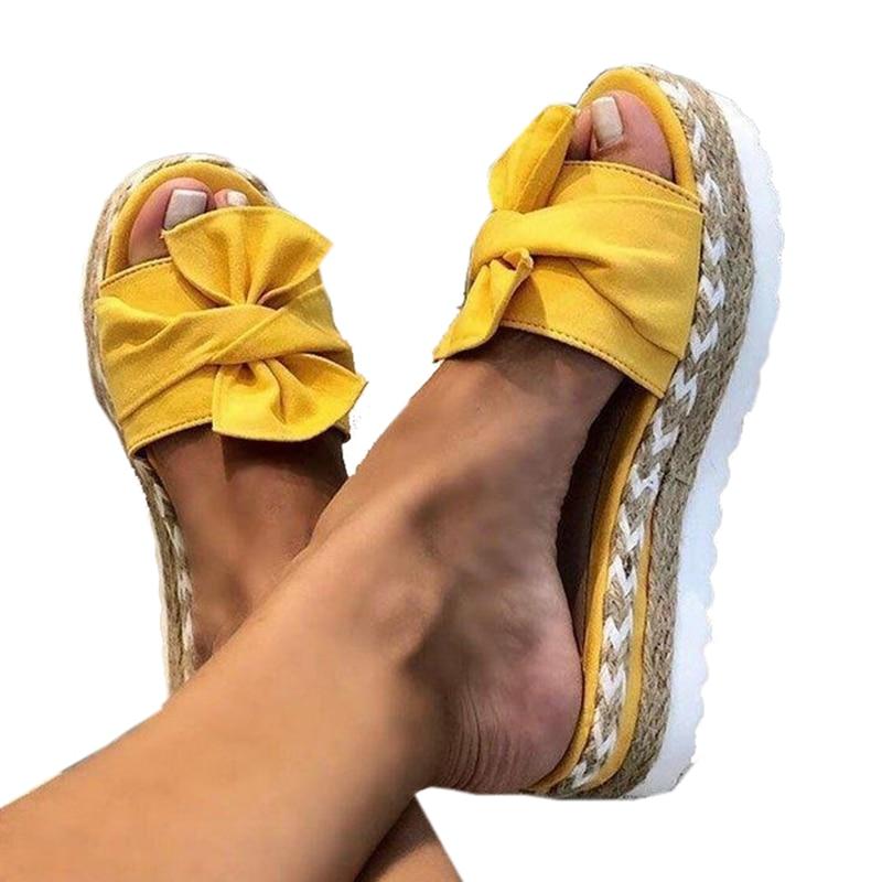 Сандалии женские на платформе, шлепанцы с бантом, для улицы и дома, пляжная обувь, желтые, красные, коричневые, 2020|Тапочки| | АлиЭкспресс