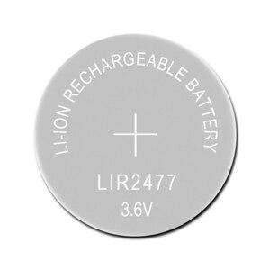 Image 1 - Литий ионный перезаряжаемый аккумулятор LIR2477 3,6 В 1 шт., Литиевые кнопочные встроенные аккумуляторы для монет, часовые элементы LIR 2477 заменяет CR2477