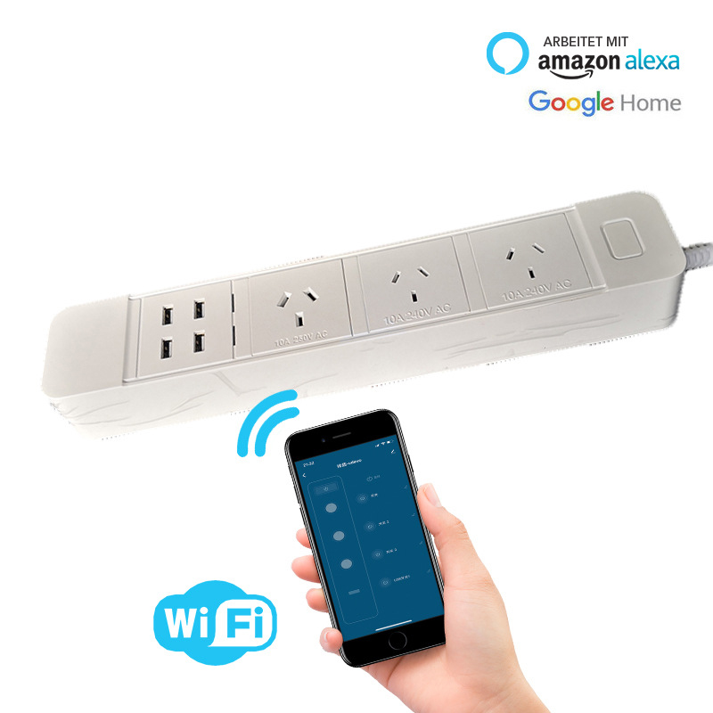 H54abe5fcf2f849fcacecc836f3f7cb814 - Wifi Smart Power Strip Multiple Surge Protector 3 Way AU Plug Electrical Outlets Extension Sockets with USB by Alexa Google Home