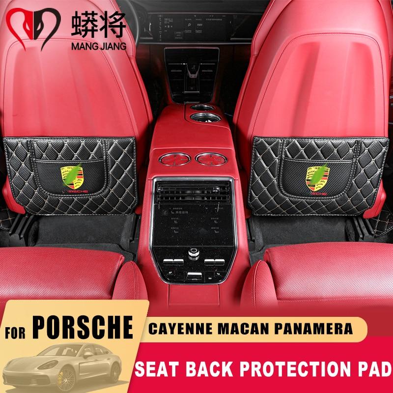 Siedzenia anty brudne Pad przegrody skóry maty z włókna węglowego żyły naklejki ochronne dla Porsche Cayenne Macan Panamera akcesoria samochodowe
