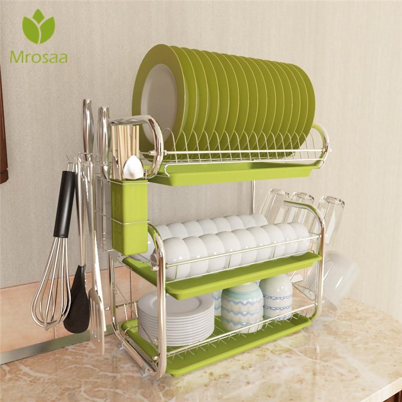 3 Layer Dish Drying Rack Iron Kitchen Cutlery Drain Rack Utensils Storage Organizer Rustproof Plates Cups Holder Shelf Drainer