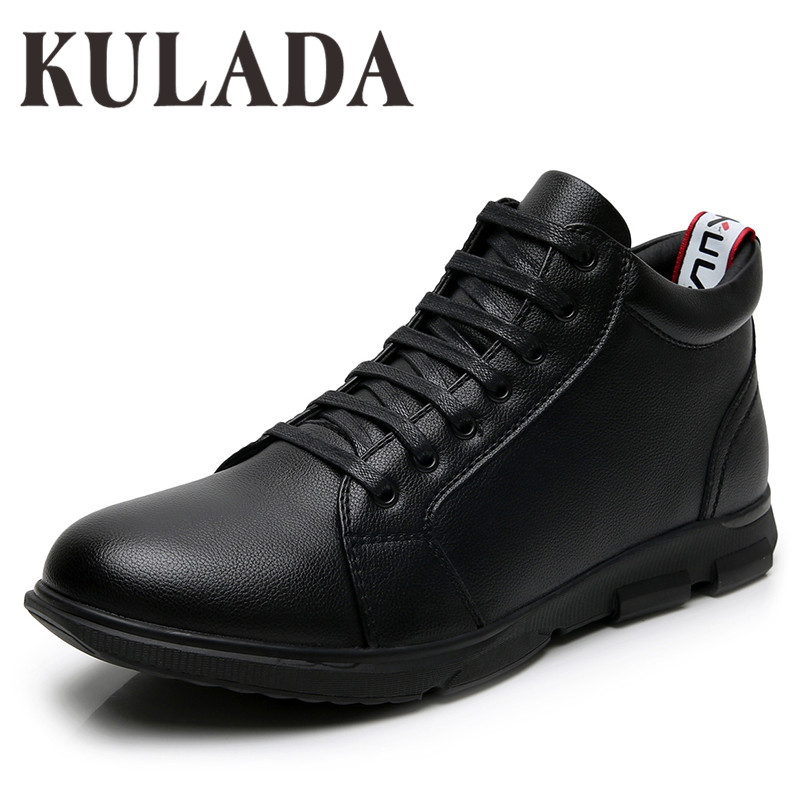 KULADA High Quality Winter Boots Men Leather Ankle Boots Handmade Outdoor Working Boots Vintage Style Men Warm Wither Shoes