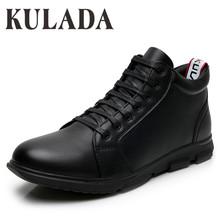 KULADA wysokiej jakości nowe buty męskie skórzane botki ręcznie odkryte buty do pracy w stylu Vintage Super ciepłe męskie buty zimowe tanie tanio Buty śniegu CN (pochodzenie) ANKLE Stałe Dla dorosłych Pluszowe Plush Okrągły nosek RUBBER Zima Med (3 cm-5 cm) M1913-1