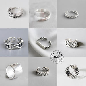Open-Rings Jewelry Punk Gifts Party Silver-Color Design Vintage Women LETTER Metal