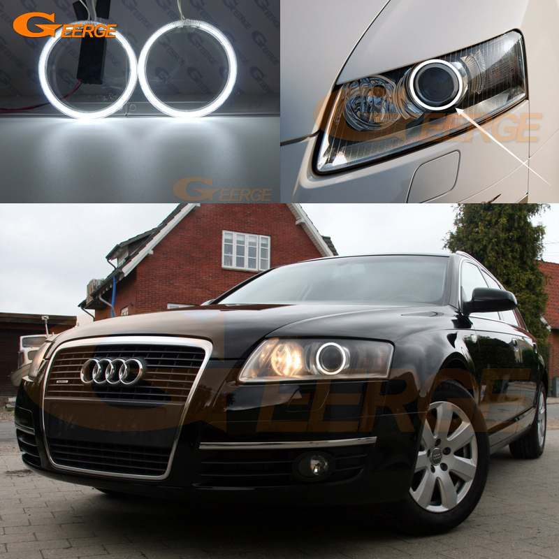 Excellent Ultra bright CCFL Angel Eyes halo rings Car styling For Audi A6 S6 RS6 2004 2005 2006 2007 2008 XENON headlight image