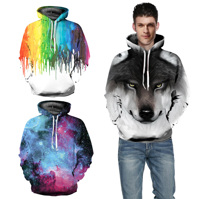 EHUANHOOD 2019 Fashion 3D Hoodies Paint Funny Hip Hop Hoodie Sweatshirts Men&Women Hoodies With Hat Hooded Pullovers Tops