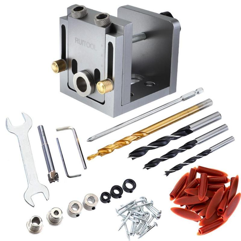 3 In 1 Woodworking Drill Bits Guide Kit Locator Dowelling Jig For Furniture