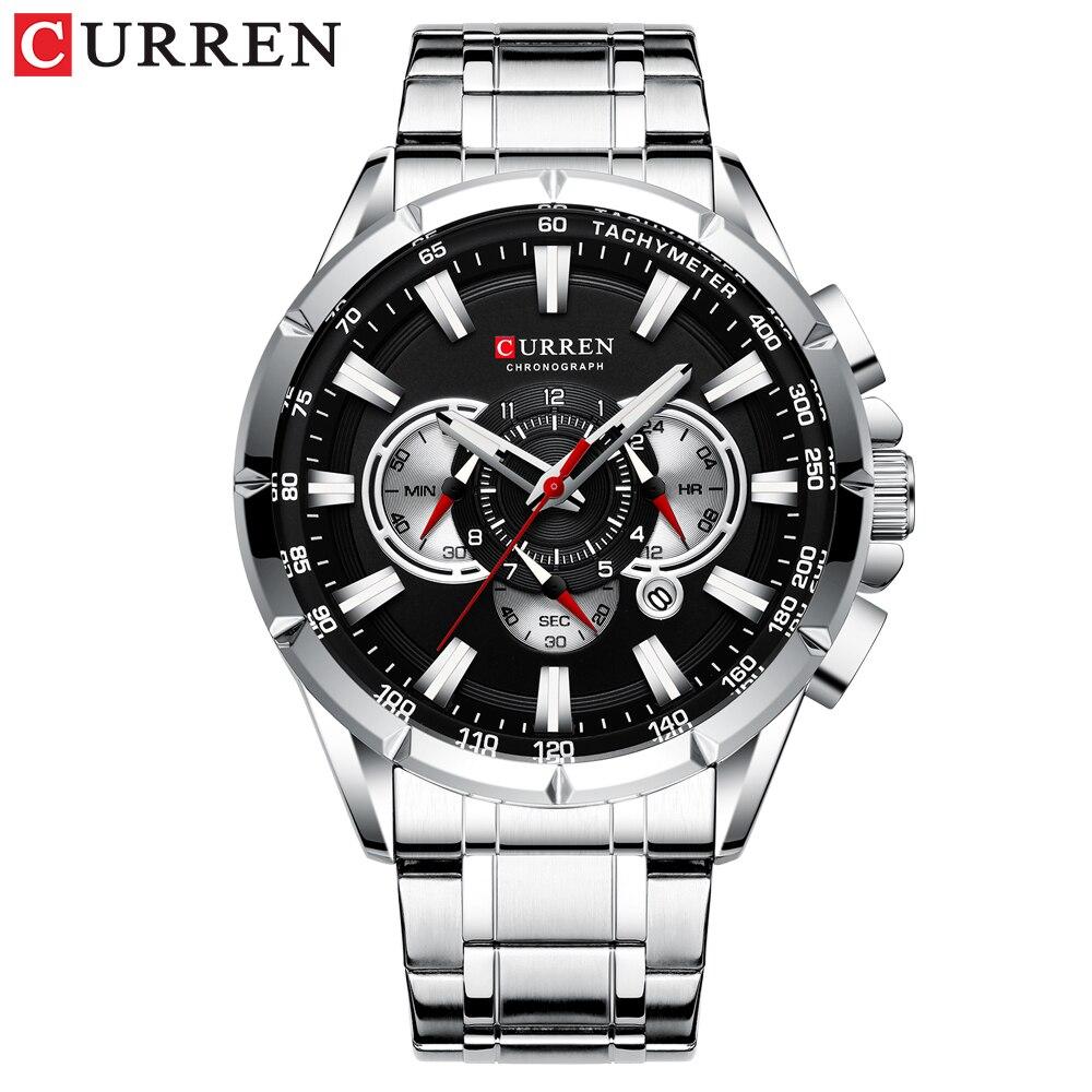 CURREN Top Luxury Brand Men Watch Quartz Wristwatch Sports Chronograph Clock Male Stainless Steel Band Fashion Business Watch