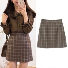 Plaid Skirt Vintage Preppy-Style Japan-Design Winter Girls High-Wait Sweet Women Spring