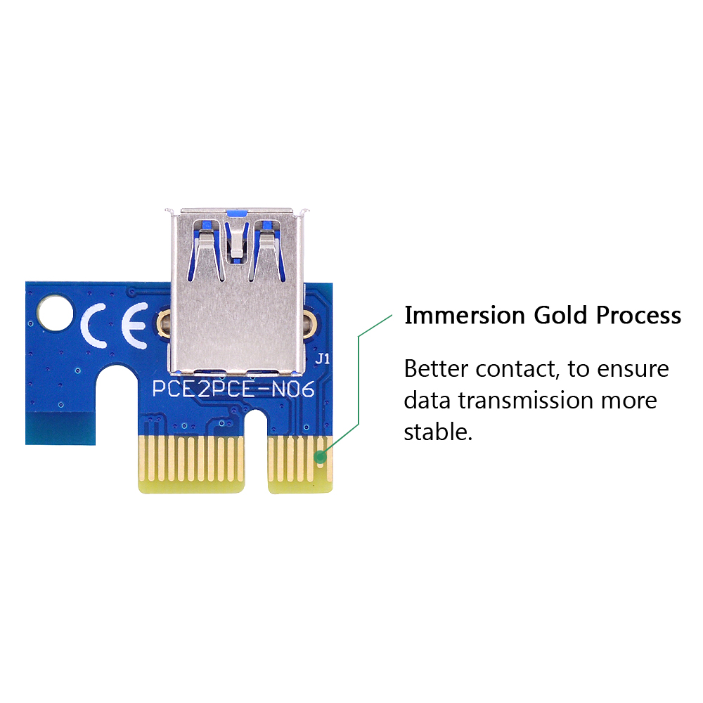 CHIPAL VER006 60CM PCIe PCI-E 1X to 16X Riser Card Extender SATA to 4Pin Power Cord USB 3.0 Data Cable for BTC Miner Bitcoin-3