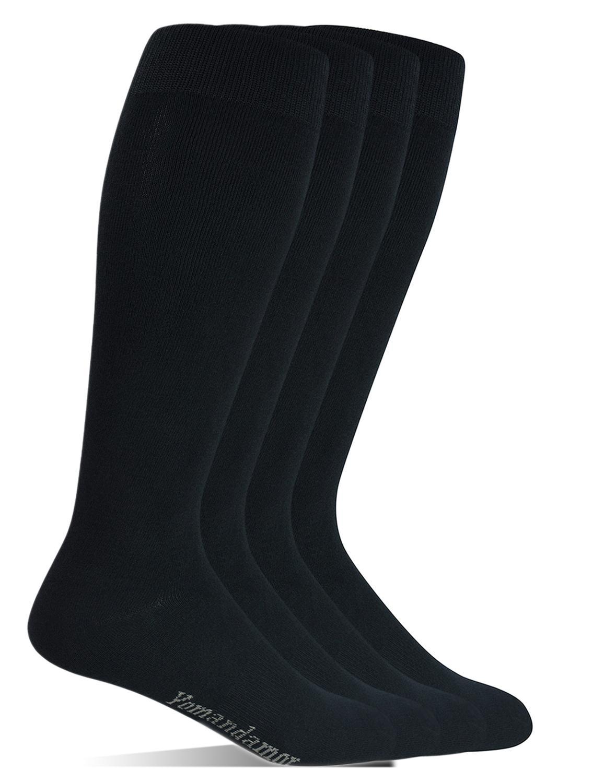 Мужские бамбуковые носки Yomandamor с очень широким верхом по щиколотку, 4 пары, размер L, для всех сезонов