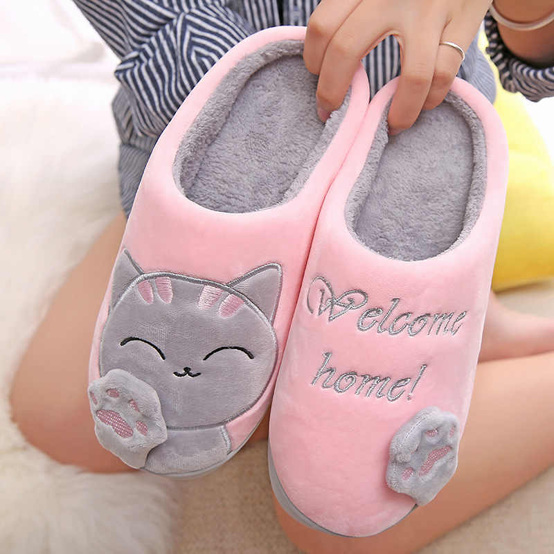 נשים חורף בית כפכפים Cartoon חתול החלקה חם בבית חדר קומת נעלי נעלי קטיפה נשים פו פרווה שקופיות כפכפים