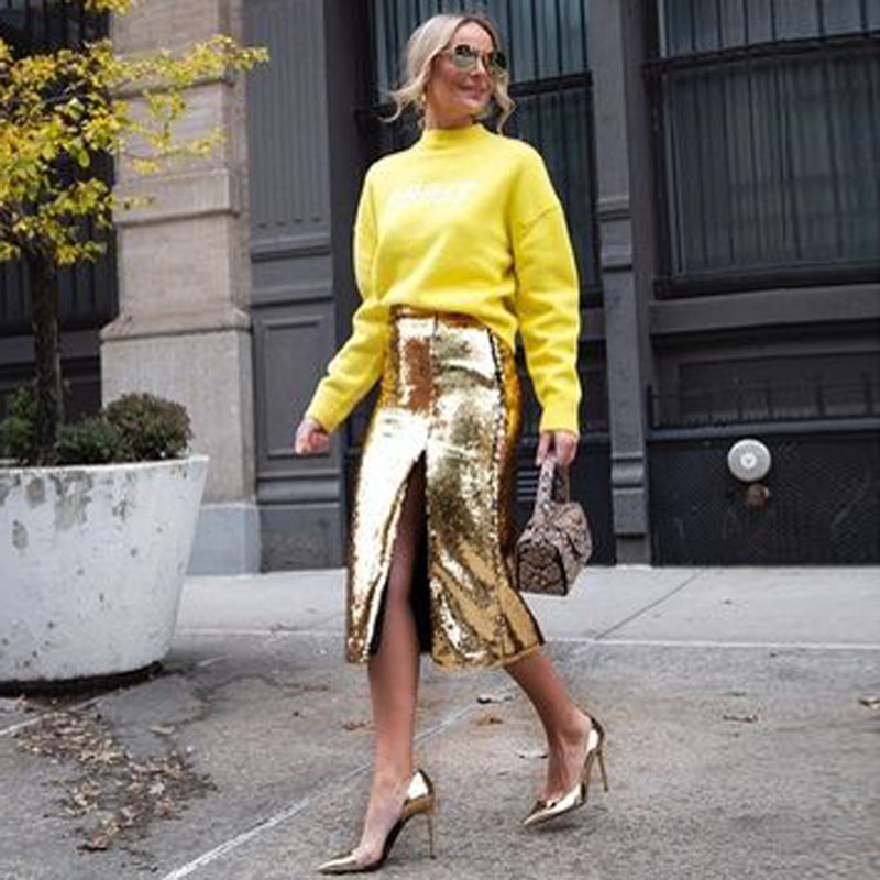 Sparkly Sequined Skirts Women Sexy Slit Gold Sequins Pencil Midi Skirt Fashion Tea Length Plus Size Skirts Custom Faldas Saia