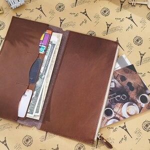 Image 5 - Porta cartões em couro legítimo, bolsa com zíper para guardar cartões, acessórios para notebook, artesanal, planejador de sketchbook, 100%