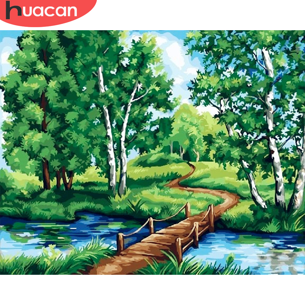 HUACAN Pictures By Numbers City Scenery DIY Oil Painting By Numbers Landscape Kits Home Decor Drawing Canvas HandPainted