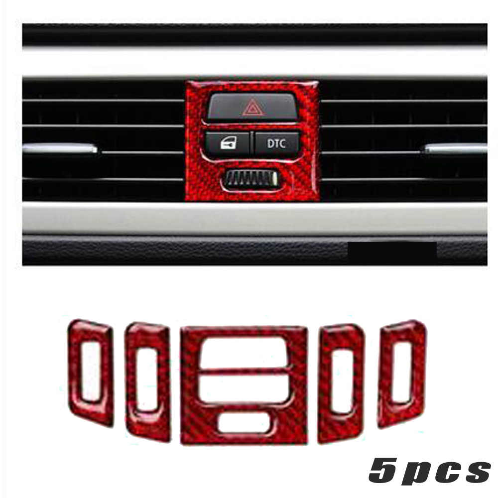 5 pièces voiture Center sortie d'air garnitures bande en Fiber de carbone Style pour BMW E90 E92 E93 2005 2012 automobile intérieur autocollants