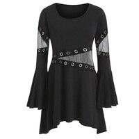 ROSEGAL Autumn Grommet Tape Mesh T Shirt Flare Sleeve Large Size Top Rivet O Neck Women Gothic TShirts Mesh Long Tunic Tops