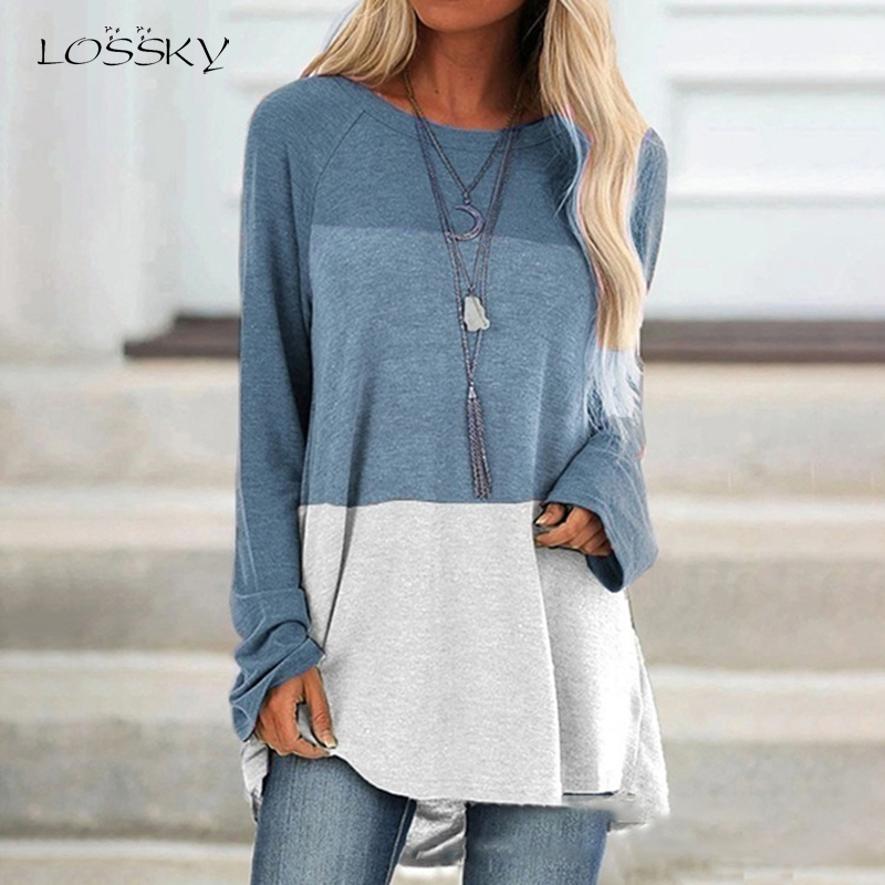 Lossky T Shirts Plus Size Tops Vogue Women Long Sleeve Color Stitching Casual Fall Clothes Oversized Tee Shirt Femme 2019 Blusas