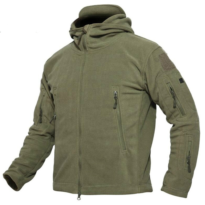 Fleece Jacket Men Outwear Softshell Warm Mens Multi Pocket Thick Thermal Polar Hooded Military Tactical Jackets Plus Size 4XL