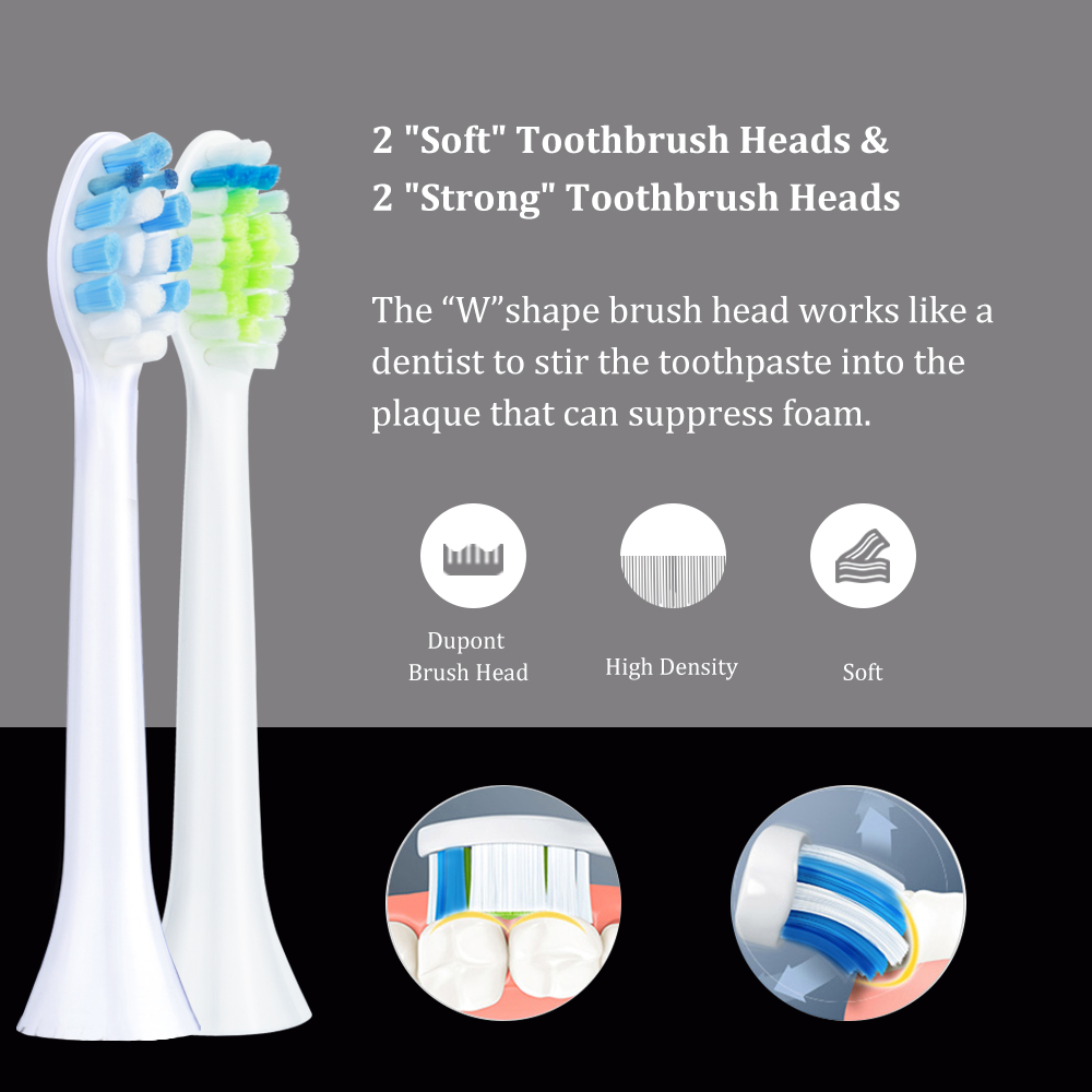 Vsmile Sonic Electric Toothbrush with 2200mAh battery including 5 Modes and 4 Brush Heads for teeth Whitening 4