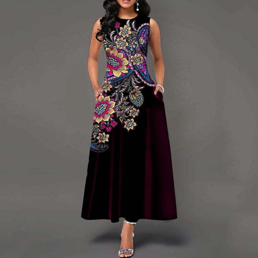 Pocket Round Neck Sleeveless High Waist Dress Long Vintage Floral Print Women Maxi Vintage Dress Office Ladies Retro Elegant