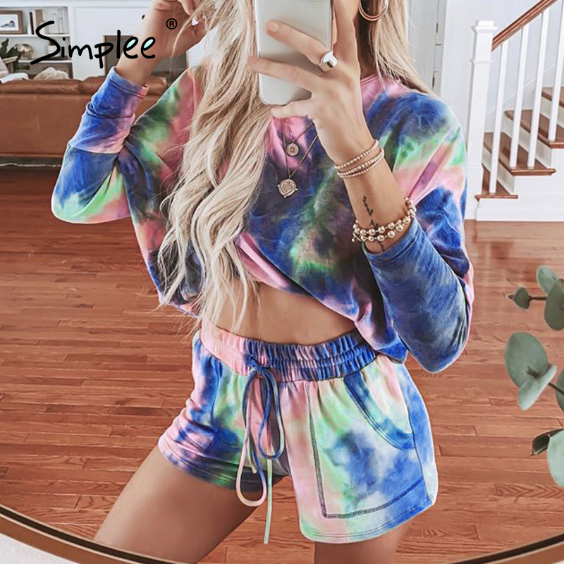 Simplee Casual Two Piece Tie-Dye Women Suits T-shirt Shorts Set Long Sleeve Casual Oversize Female Suits Summer Shorts Set