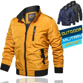 Męskie kurtki 2020 wiosna jesień kurtka wojskowa armia codzienna odzież wierzchnia człowiek Bomber Jacket mężczyzna Zipper płaszcze odzież marki tanie i dobre opinie Military jacket REGULAR STANDARD COTTON Stałe NONE Poliester Skręcić w dół kołnierz Rib rękawem