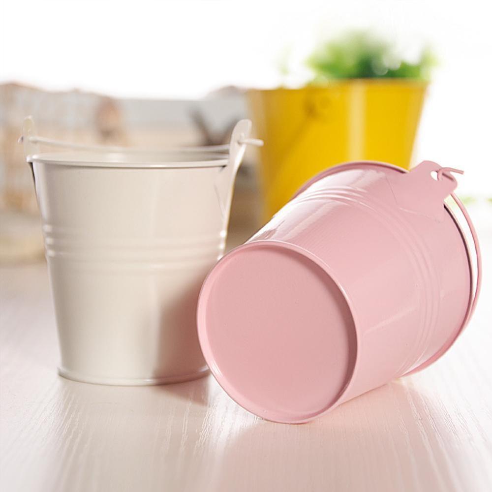Adornos artesanales de caramelo en maceta, 1 uds, pequeño barril de hierro, Mini Cubo de hojalata 6*4*5,5 cm, gran oferta