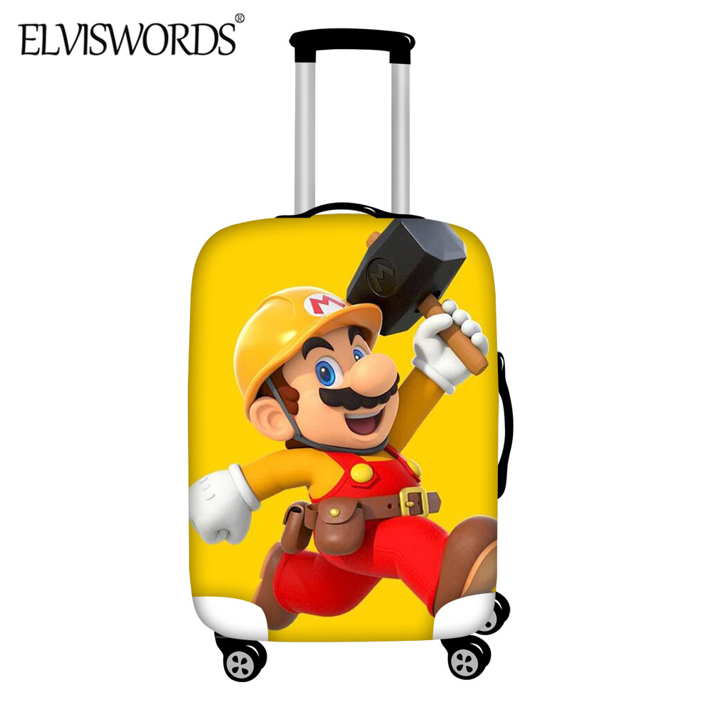 ELVISWORDS 2020 Cartoon Suitcase Protective Covers Cartoon Super Mario Print Luggage Cover Elastic Stretch Travel Accessories