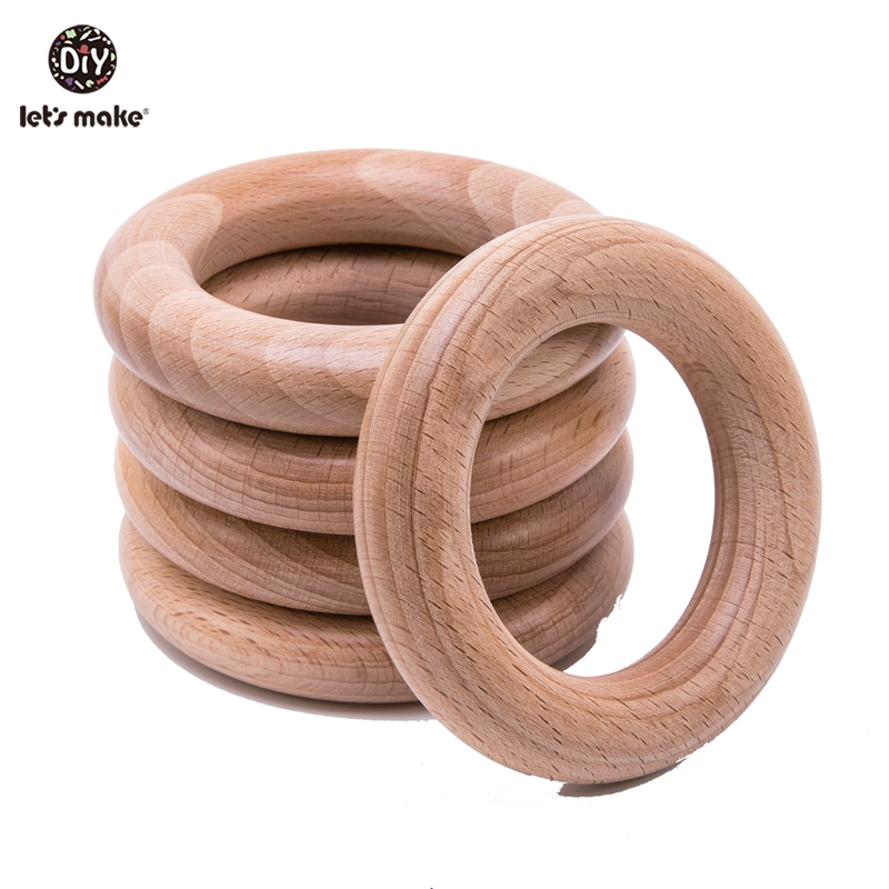 Let's Make Beech Wooden Ring 50pc Round Wood 54mm Teether DIY Bracelet Crafts For Infant Beech Wood Teething Ring Baby Teether