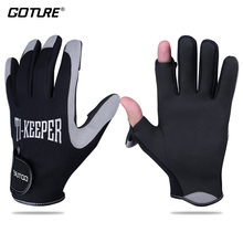 Goture Winter Fishing Gloves 2 Fingers Cut Waterproof Anti-slip Durable Breathable Sport Gloves Fishing Equipment M L XL cheap E10463 Half Finger GOTURE Ti-Keeper Gloves neoprene+microfiber leather+microfiber leather black with grey 8 89cm 3 5in 9 65cm 3 8in
