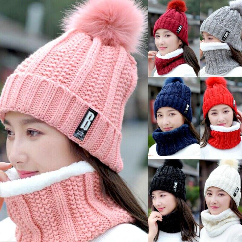 Autumn Winter Women Warm Soft Knitted Outdoor Beanie Pom Hat Crochet Ski Cap Scarf 2pcs Sets