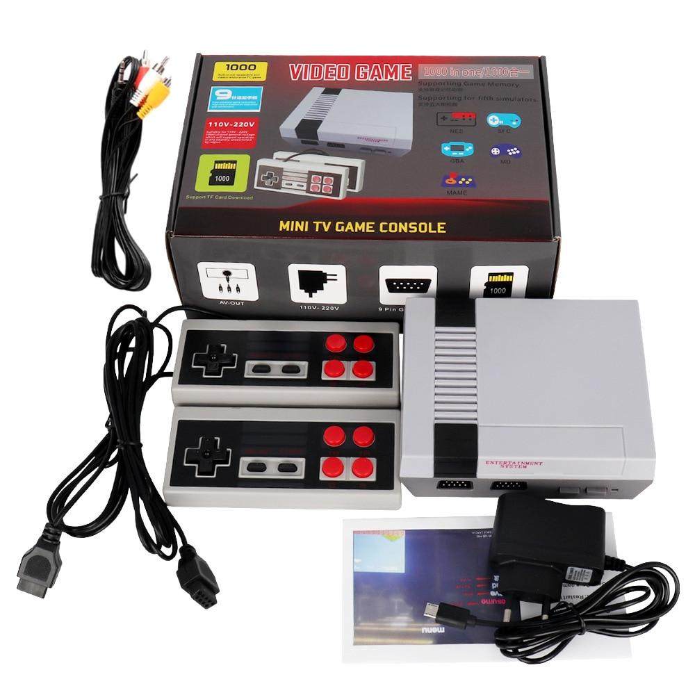 Recreation Video Game Console Built-in Classic Games Dual Gamepad Gaming Player AV Port Retro Mini TV Handheld Family 1000 In1