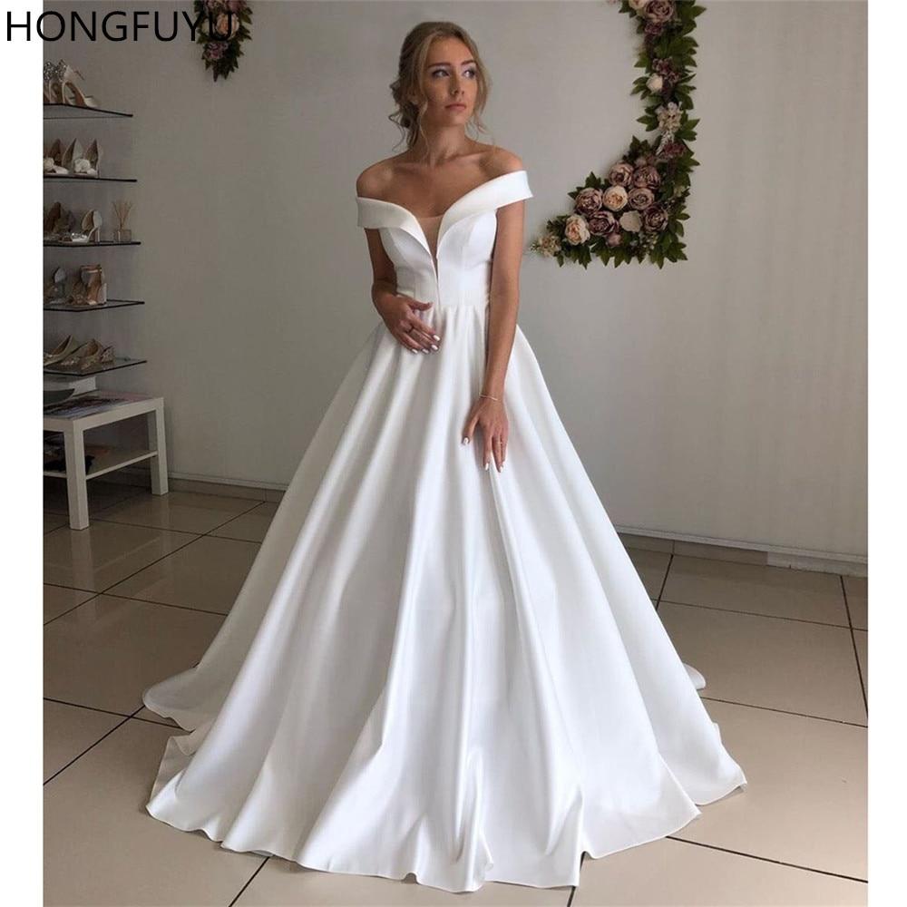 HONGFUYU basit kapalı omuz beyaz gelinlik saten A-Line gelinlikler Illusion gelin elbise Custom made Lace Up korse