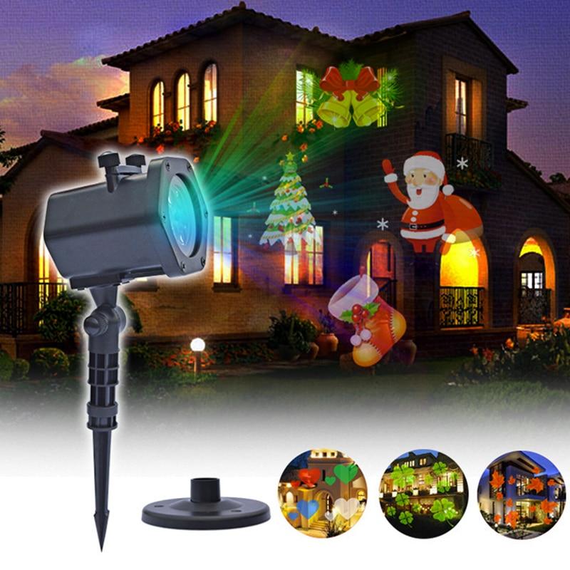 New Putdoor Christmas Halloween Window Projector Light For Halloween Party Santa Claus Snowflake Film Pattern Projector Light|Stage Lighting Effect|   - AliExpress