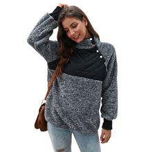 Warm Sweatshirt Women Stylish Personality All-match Sweatshirt Long Sleeve Color-blocked Keep Warm Turtleneck Jacket stylish scoop neck long sleeve zipper design women s sweatshirt