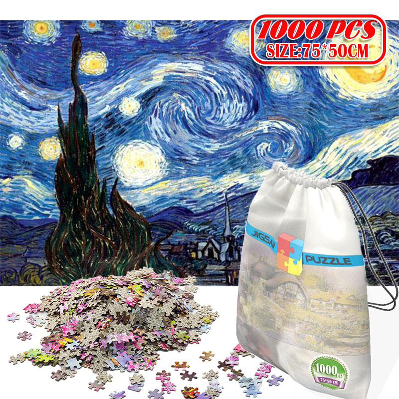 Paper Jigsaw Puzzle 1000pcs Wooden Toys Puzzles For Adults Educational Toys Decoration Stickers Van Gogh Oil Painting Starry Sky
