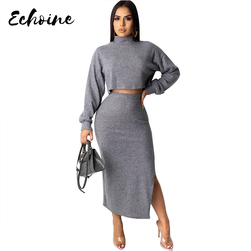 Knitted 2 Pieces Set Women Pullovers Sweater Crop Tops Knitted Skirts Bodycon Office Lady 2PCS Suits Sets 2020 Winter Tracksuit