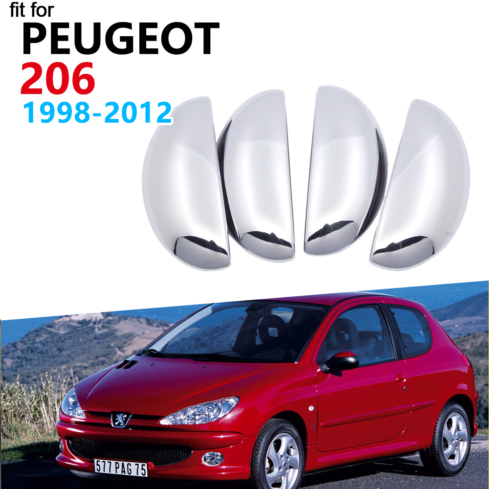 Luxurious Chrome Door Handle Cover Trim Set For Peugeot 206 206+ 206sw 206cc 1998 1999 2010 2011 2012 Accessories Car Stickers