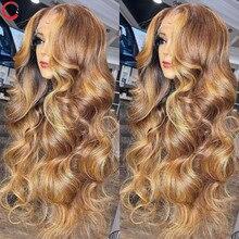 KUNGANG-pelucas de encaje de 13x4, pelucas de cabello humano ondulado, brasileño, frontal, 150% de densidad, no Remy