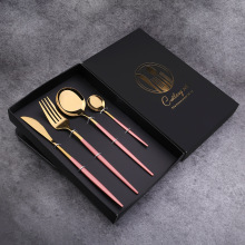 4Pcs/set Dinnerware Set 304 Stainless Steel Black