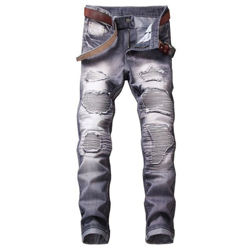 Fashion Men`s Motorbike Motorcycle Jeans Denim Trousers Cool Teens Youth Boys Washed Holes Pleated Male Straight Pants 29-42 (20)
