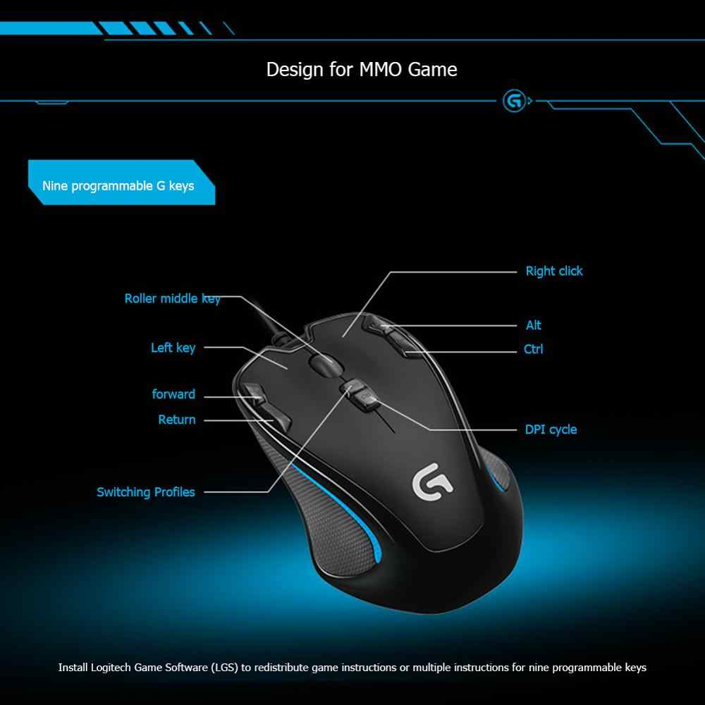 Logitech G300s Ambidextrous Optical Gaming Mouse Usb Wired 9 Programmable Buttons Mouse2500dpi 7 Color Backlight Game Mice Mice Aliexpress
