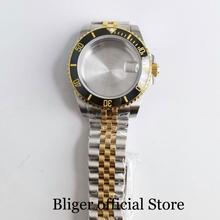 цена Gold Coated 40mm Watch Case with Bezel Insert + Watch Jubilee Band Fit ETA 2836 MIYOTA Movement онлайн в 2017 году
